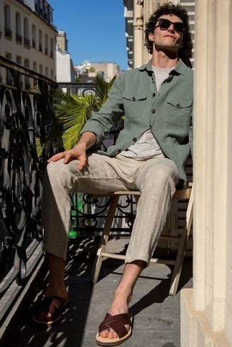 Sandals Outfits For Men: Combining a mint long sleeve shirt with beige linen chinos is an amazing pick for a relaxed casual outfit. For something more on the daring side to complete this ensemble, complement your outfit with a pair of sandals.