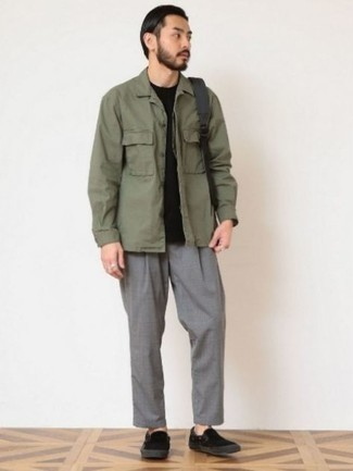 Olive Long Sleeve Shirt Outfits For Men: This relaxed casual combination of an olive long sleeve shirt and grey chinos couldn't possibly come across other than outrageously stylish. Introduce black canvas slip-on sneakers to the mix for maximum effect.