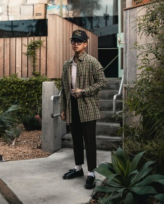Black Print Baseball Cap Outfits For Men: An olive gingham long sleeve shirt and a black print baseball cap are the kind of a fail-safe casual getup that you need when you have zero time to dress up. Finishing with a pair of black leather tassel loafers is a simple way to bring a little flair to your look.