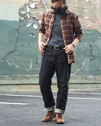 Multi colored Plaid Long Sleeve Shirt Outfits For Men: Irrefutable proof that a multi colored plaid long sleeve shirt and a charcoal crew-neck t-shirt look awesome when teamed together in an off-duty ensemble. Complete this ensemble with tan leather desert boots for an extra dose of refinement.