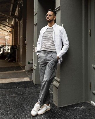 How to Wear Grey Sunglasses For Men: This combo of a white long sleeve shirt and grey sunglasses looks amazing and immediately makes any gentleman look dapper. If you wish to easily bump up this outfit with one item, why not grab a pair of white leather low top sneakers?