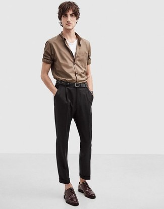 Black Dress Pants Outfits For Men: We love the way this combination of a brown long sleeve shirt and black dress pants instantly makes men look smart and classy. Add a pair of burgundy leather derby shoes to this getup and the whole ensemble will come together quite nicely.