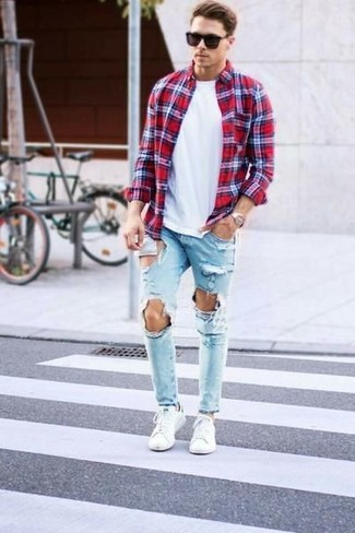 How to wear: red plaid long sleeve shirt, white crew-neck t-shirt, light blue ripped jeans, white low top sneakers
