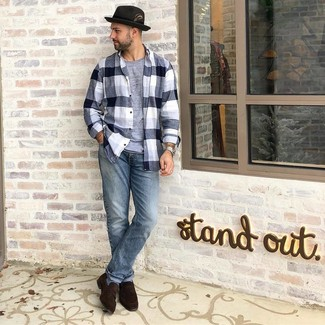 How to wear: black and white plaid flannel long sleeve shirt, grey crew-neck t-shirt, light blue jeans, dark brown suede loafers