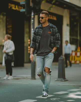 How to wear: charcoal plaid long sleeve shirt, charcoal print crew-neck t-shirt, light blue ripped jeans, charcoal canvas low top sneakers