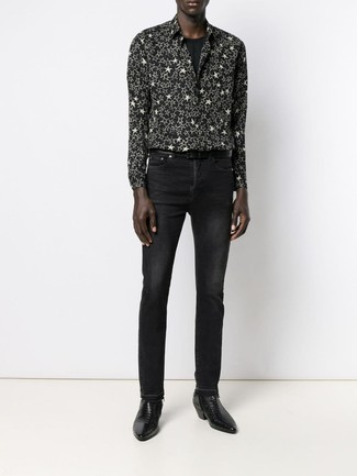 How to Wear a Black and White Star Print Long Sleeve Shirt For Men: Nail the casual and cool outfit by opting for a black and white star print long sleeve shirt and black jeans. And if you need to easily perk up this outfit with a pair of shoes, add black leather chelsea boots to the equation.