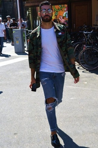 How to Wear Blue Ripped Jeans For Men: An olive camouflage long sleeve shirt and blue ripped jeans are an edgy pairing that every modern gent should have in his casual styling collection. Black leather loafers are a fail-safe way to inject an added touch of style into your ensemble.