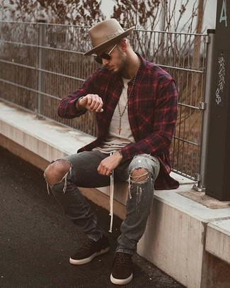 How to Wear Grey Ripped Jeans For Men: A red and black plaid long sleeve shirt and grey ripped jeans are the perfect way to infuse extra cool into your current styling lineup. Go the extra mile and spice up your ensemble by slipping into a pair of dark brown suede low top sneakers.