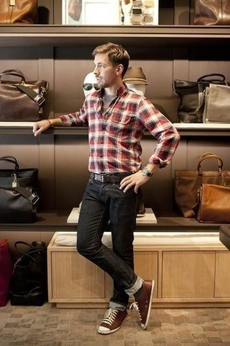 Black Jeans with Brown Sneakers Summer Outfits For Men: If the situation allows a casual look, rock a red plaid long sleeve shirt with black jeans. Let your styling savvy really shine by rounding off this look with brown sneakers. This one will play especially well come super hot sunny days.