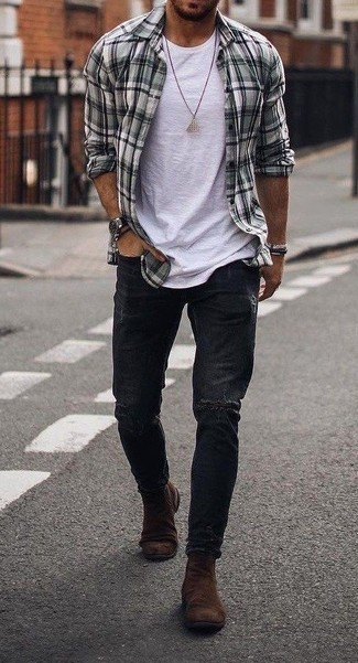 How to Wear Brown Suede Chelsea Boots For Men: Team a grey plaid long sleeve shirt with black ripped jeans for an off-duty and stylish getup. Tap into some David Gandy dapperness and spruce up your look with a pair of brown suede chelsea boots.