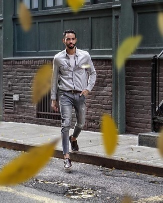 How to Wear a Dark Brown Leather Belt For Men: Try teaming a grey long sleeve shirt with a dark brown leather belt to achieve a seriously sharp and modern casual ensemble. Add a pair of dark brown leather double monks to your look to completely change up the look.