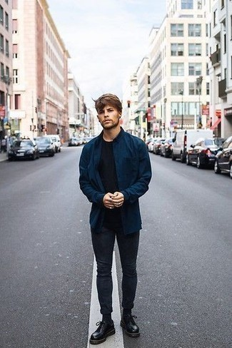 Navy Long Sleeve Shirt Outfits For Men In Their 20s: A navy long sleeve shirt and charcoal jeans are both versatile menswear essentials that will integrate perfectly within your day-to-day casual routine. Avoid looking too casual by finishing with a pair of black leather derby shoes. If you're in your mid-20s, take cues from ensembles like this to add more maturity to your look.