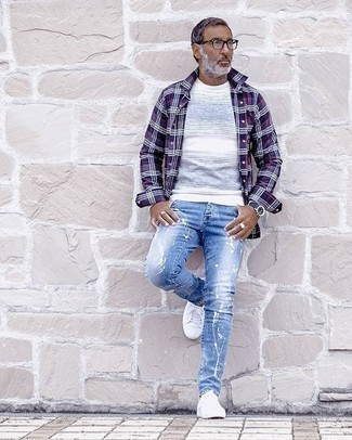 To jeans with light purple what wear Blue Shoes