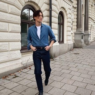 Blue Chambray Long Sleeve Shirt Outfits For Men: If you prefer a more casual approach to fashion, why not consider teaming a blue chambray long sleeve shirt with navy jeans? Let your styling credentials truly shine by complementing your outfit with a pair of black leather chelsea boots.