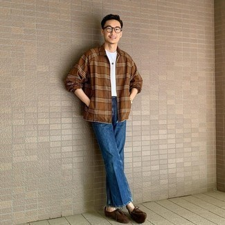 Blue Jeans Outfits For Men: A brown plaid long sleeve shirt and blue jeans are a nice combination worth having in your day-to-day rotation. Give a more sophisticated twist to an otherwise utilitarian ensemble with a pair of dark brown suede desert boots.