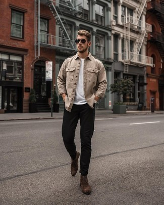 Brown Suede Desert Boots Outfits: Why not try teaming a tan long sleeve shirt with black jeans? These two pieces are super practical and will look awesome when paired together. We adore how a pair of brown suede desert boots makes this look whole.