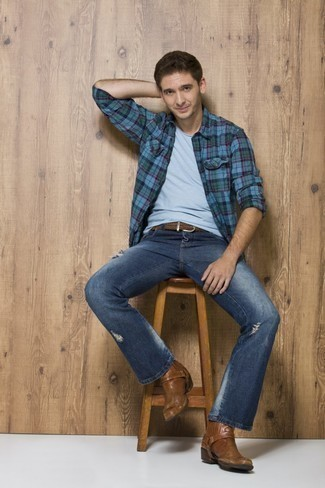 Men's Outfits 2020: A blue plaid long sleeve shirt and navy ripped jeans are a modern casual combination that every stylish guy should have in his casual sartorial collection. And if you need to instantly lift up this outfit with one item, introduce a pair of brown leather chelsea boots to the equation.