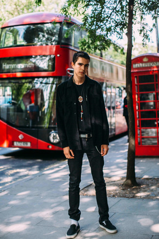 Black Jeans Outfits For Men In Their Teens: If you're hunting for an off-duty yet stylish look, wear a black long sleeve shirt with black jeans. Choose a pair of black canvas slip-on sneakers to tie the whole ensemble together. Overall, a good demonstration of casual fashion for adolescents.