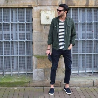 Men's Outfits 2021: Consider wearing a dark green long sleeve shirt and navy jeans for a functional getup that's also well-executed. When it comes to shoes, add a pair of navy canvas slip-on sneakers to the equation.