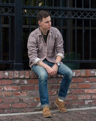 Dress Shoes Outfits For Men: Combining a grey vertical striped long sleeve shirt with blue jeans is a great pick for a casually cool look. Let your outfit coordination prowess truly shine by completing this outfit with dress shoes.