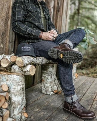 Black Print Baseball Cap Outfits For Men: A black check long sleeve shirt and a black print baseball cap are a great combination to keep in your daily routine. Why not introduce a pair of dark brown leather casual boots to the mix for a dose of sophistication?