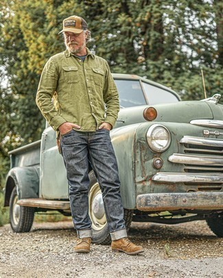 Tan Print Baseball Cap Outfits For Men: This combination of an olive long sleeve shirt and a tan print baseball cap is stylish and yet it looks casual and ready for anything. Let your outfit coordination chops really shine by rounding off this outfit with brown suede casual boots.