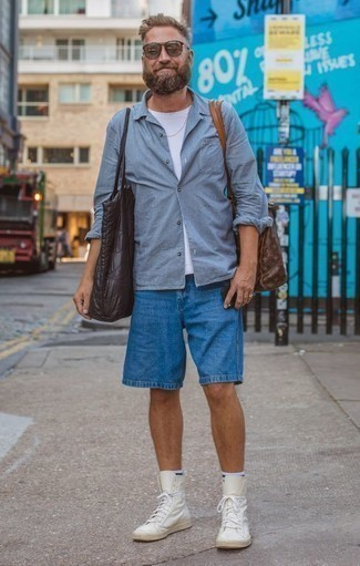 How to Wear a Light Blue Vertical Striped Long Sleeve Shirt For Men: Try teaming a light blue vertical striped long sleeve shirt with blue shorts for a simple look that's also well put together. A pair of white leather low top sneakers looks great here.