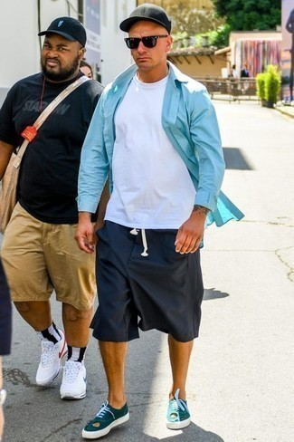 How to Wear Navy Shorts For Men: This pairing of an aquamarine long sleeve shirt and navy shorts is a cool look for when it's time to clock off. When not sure as to what to wear on the footwear front, stick to teal canvas low top sneakers.