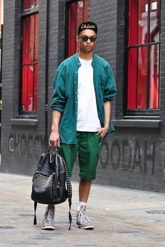 How to Wear Dark Green Shorts In Summer For Men: Why not reach for a teal long sleeve shirt and dark green shorts? These two pieces are totally functional and will look nice matched together. You could perhaps get a bit experimental on the shoe front and complete your outfit with a pair of multi colored leather casual boots. You can't go wrong with this one on an extremely hot hot weather afternoon.