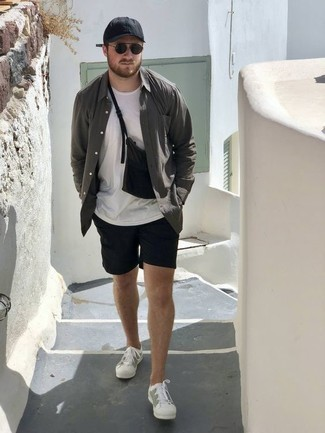 Black Shorts Outfits For Men: You're looking at the indisputable proof that a charcoal long sleeve shirt and black shorts look amazing when you team them up in a laid-back ensemble. Complement your look with white canvas low top sneakers and off you go looking dashing.