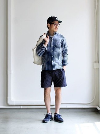 Navy Athletic Shoes Outfits For Men: This pairing of a navy gingham long sleeve shirt and navy shorts is a nice look for when it's time to clock off. For times when this ensemble is just too much, tone it down by sporting a pair of navy athletic shoes.