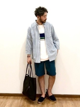 Navy Shorts Outfits For Men: Dress in a white and navy vertical striped long sleeve shirt and navy shorts and you'll be prepared for wherever this day takes you. Black canvas espadrilles are a smart idea to finish off this getup.