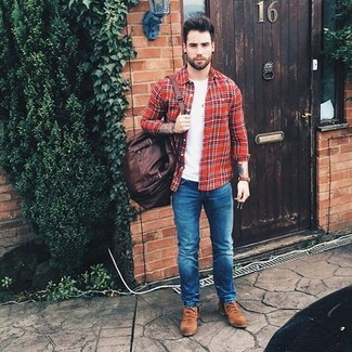 How to wear: red plaid long sleeve shirt, white crew-neck t-shirt, blue skinny jeans, brown suede chelsea boots