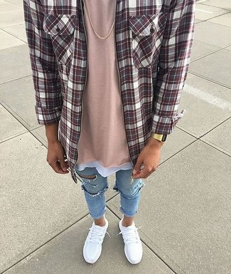 Light Blue Ripped Skinny Jeans Outfits For Men In Their Teens: A burgundy plaid long sleeve shirt and light blue ripped skinny jeans married together are a match made in heaven. White athletic shoes integrate effortlessly within a variety of outfits. Definitely a savvy pick if we're talking adolescent fashion.