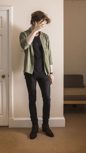 Dark Brown Suede Chelsea Boots Outfits For Men: This combo of an olive long sleeve shirt and black skinny jeans makes for the perfect base for a casually cool outfit. Change up this getup by finishing off with a pair of dark brown suede chelsea boots.