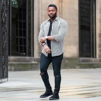 Black Jeans with White and Red Vertical Striped Shirt Relaxed Outfits For Men: A white and red vertical striped shirt and black jeans are a contemporary pairing that every fashionable man should have in his off-duty styling collection. Black suede chelsea boots will give an extra dose of elegance to an otherwise simple ensemble.