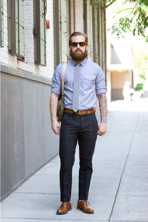 What color shirt to wear with grey pinstripe pants