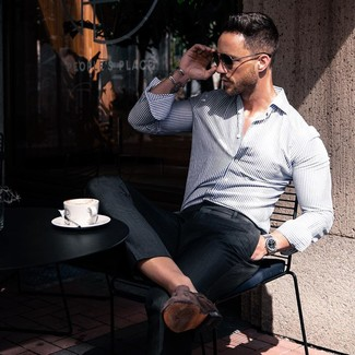 How to wear: white and navy vertical striped long sleeve shirt, black dress pants, dark brown suede loafers, black sunglasses