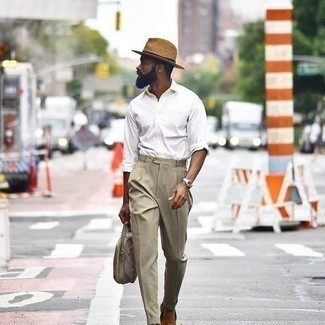 Hat Outfits For Men: To don an off-duty look with an urban spin, dress in a white long sleeve shirt and a hat. Why not take a more refined approach with shoes and complement this ensemble with tan suede loafers?