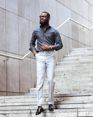 Loafers with Shirt Outfits For Men In Their 30s: For a look that's polished and absolutely envy-worthy, dress in a shirt and white dress pants. A pair of loafers will take this outfit in a classier direction. This getup illustrates that as a gentleman in his thirties, you have a vast array of dressing options.