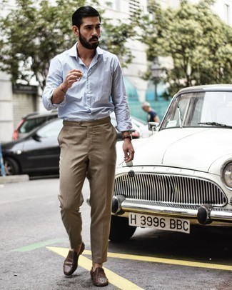 Men's White and Blue Vertical Striped Long Sleeve Shirt, Khaki Dress Pants, Brown Woven Leather Loafers, Brown Leather Watch