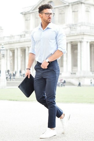 How To Wear a Light Blue Long Sleeve Shirt With Navy Pants | Men's ...