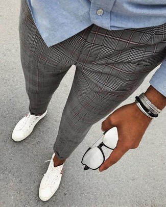 How to wear: light blue chambray long sleeve shirt, grey plaid dress pants, white low top sneakers, silver sunglasses