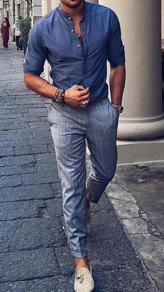 How to wear: blue chambray long sleeve shirt, grey check dress pants, beige suede tassel loafers, beige leather watch