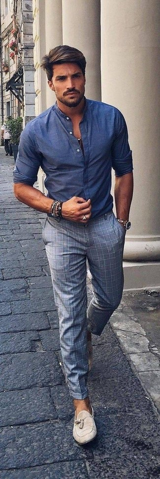 How to wear: blue chambray long sleeve shirt, grey check dress pants, beige suede tassel loafers, brown leather watch