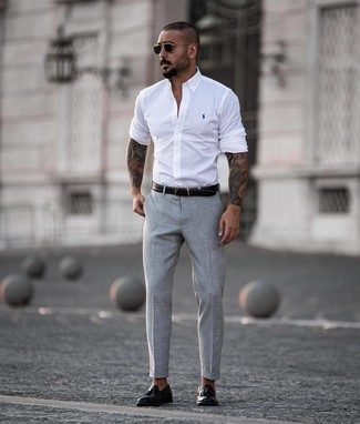 How to wear: white long sleeve shirt, grey dress pants, black leather tassel loafers, black leather belt