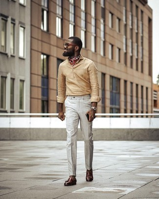 Red Print Bandana Outfits For Men: For a laid-back outfit, Marry a tan linen long sleeve shirt with a red print bandana. Ramp up your outfit with a pair of brown leather tassel loafers.