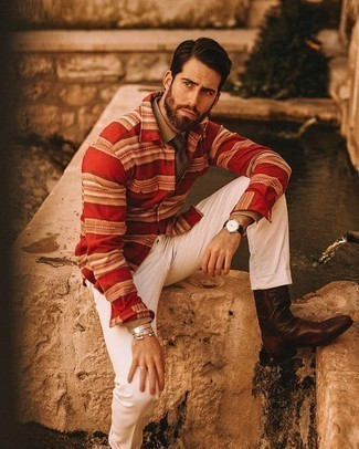 Red Flannel Long Sleeve Shirt Outfits For Men: This combination of a red flannel long sleeve shirt and white chinos will be irrefutable proof of your prowess in men's fashion even on lazy days. Feeling venturesome today? Jazz things up by finishing with dark brown leather chelsea boots.