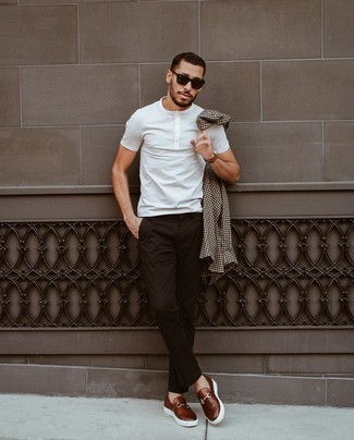 Brown Leather Watch Outfits For Men: For something more on the relaxed end, opt for this pairing of a dark brown gingham long sleeve shirt and a brown leather watch. Round off with a pair of dark brown leather loafers to upgrade this look.