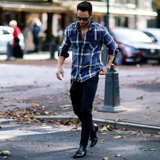 How to Wear a Silver Watch For Men: For a relaxed casual outfit with a twist, consider wearing a navy plaid flannel long sleeve shirt and a silver watch. For something more on the sophisticated end to complete this ensemble, introduce a pair of black leather chelsea boots to the mix.